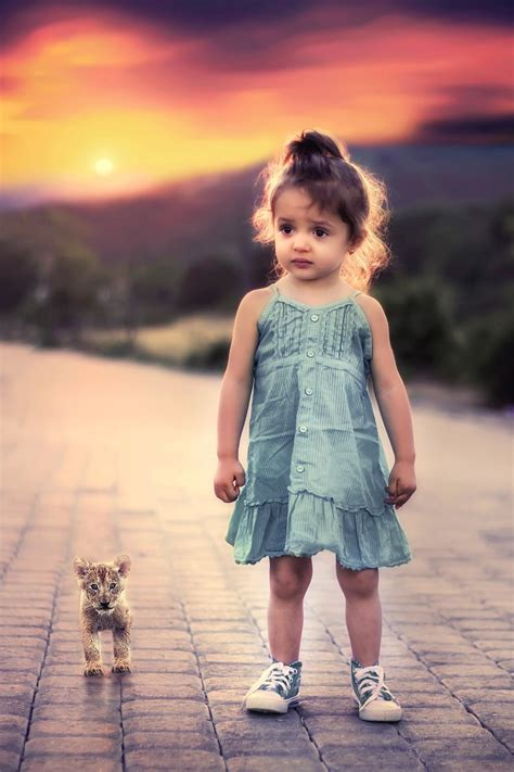 Child's Love - Cute Girl With Cub - Animals   OshiPrint