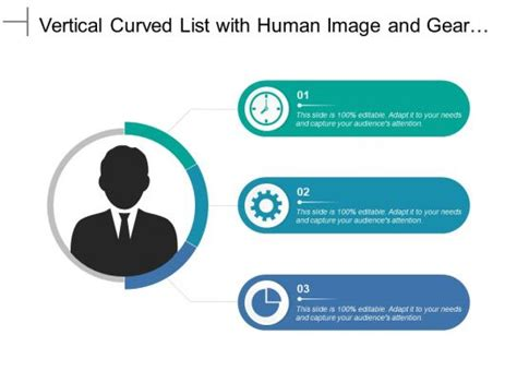 Vertical Curved List With Human Image And Gear Pie Chart