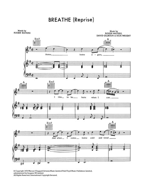 Breathe (In The Air) (Reprise) sheet music by Pink Floyd