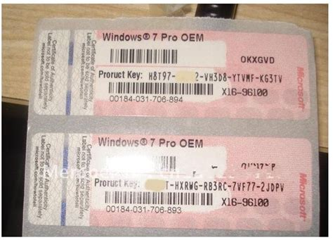 Windows 7 Pro OEM product key sticker (Red) by Si Yuan