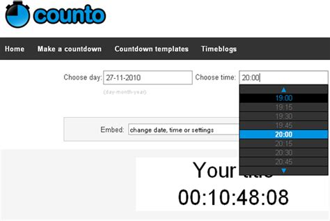 Create Your Own HTML Countdown Timer Online and Embed in