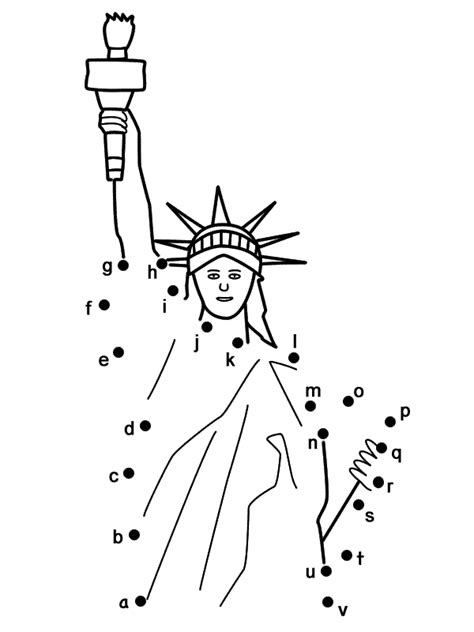 Statue of Liberty - Connect the Dots by Lowercase Letters