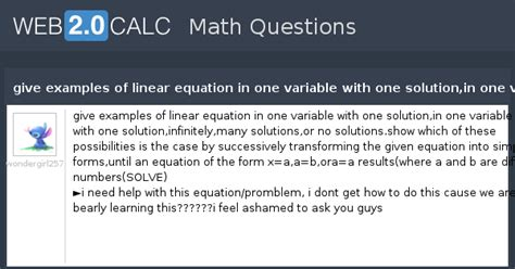 View question - give examples of linear equation in one