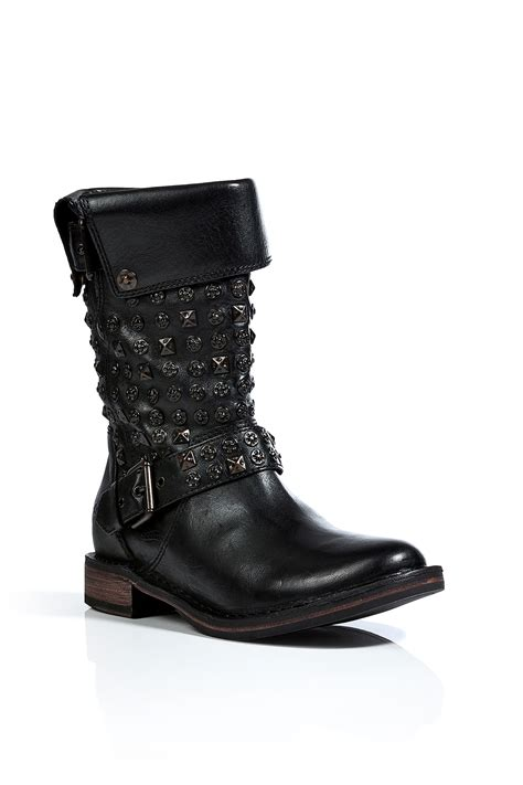 Lyst - Ugg Leather Conor Studded Boots in Black in Black