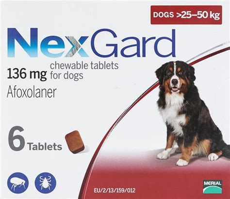 NexGard Chewables for Dogs 60-121 lbs (25-50 kg) 6 Pack