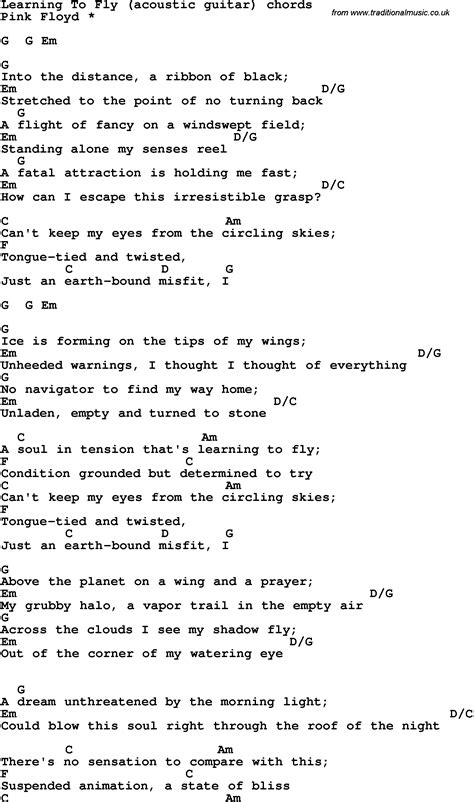 Song lyrics with guitar chords for Learning To Fly - Pink