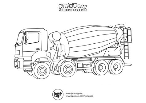 Very Noisy Cement Mixer Truck Coloring Pages - Picolour