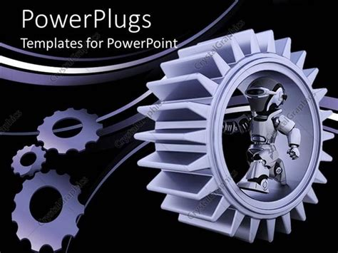 PowerPoint Template: purple gear mechanism with robot and