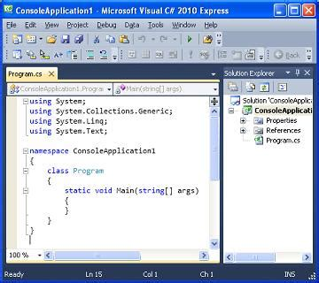 Creating a Visual C# 2010 Project